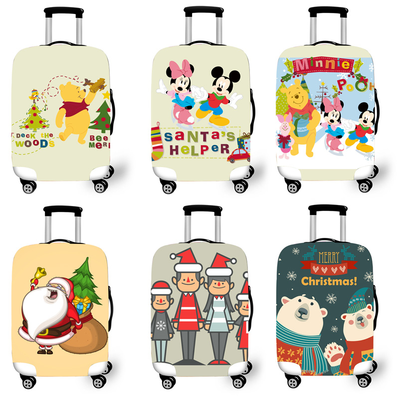 Elastic Luggage Protective Cover Case For Suitcase Protective Cover Trolley Cases Covers 3D Travel Accessories Christma Pattern