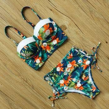 High Waist Bikini Set mujer Push Up Bandage Bikini Swimwear Women Floral Two Pieces Swimsuit Strappy biquinitraje de baño 19