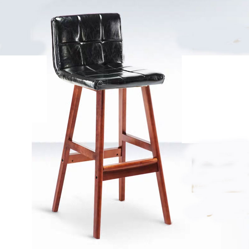 Retro Solid Wood Bar Chair Simple Creative Leisure Bar Bookstore Coffee Shop Front Desk Home High Foot Chair