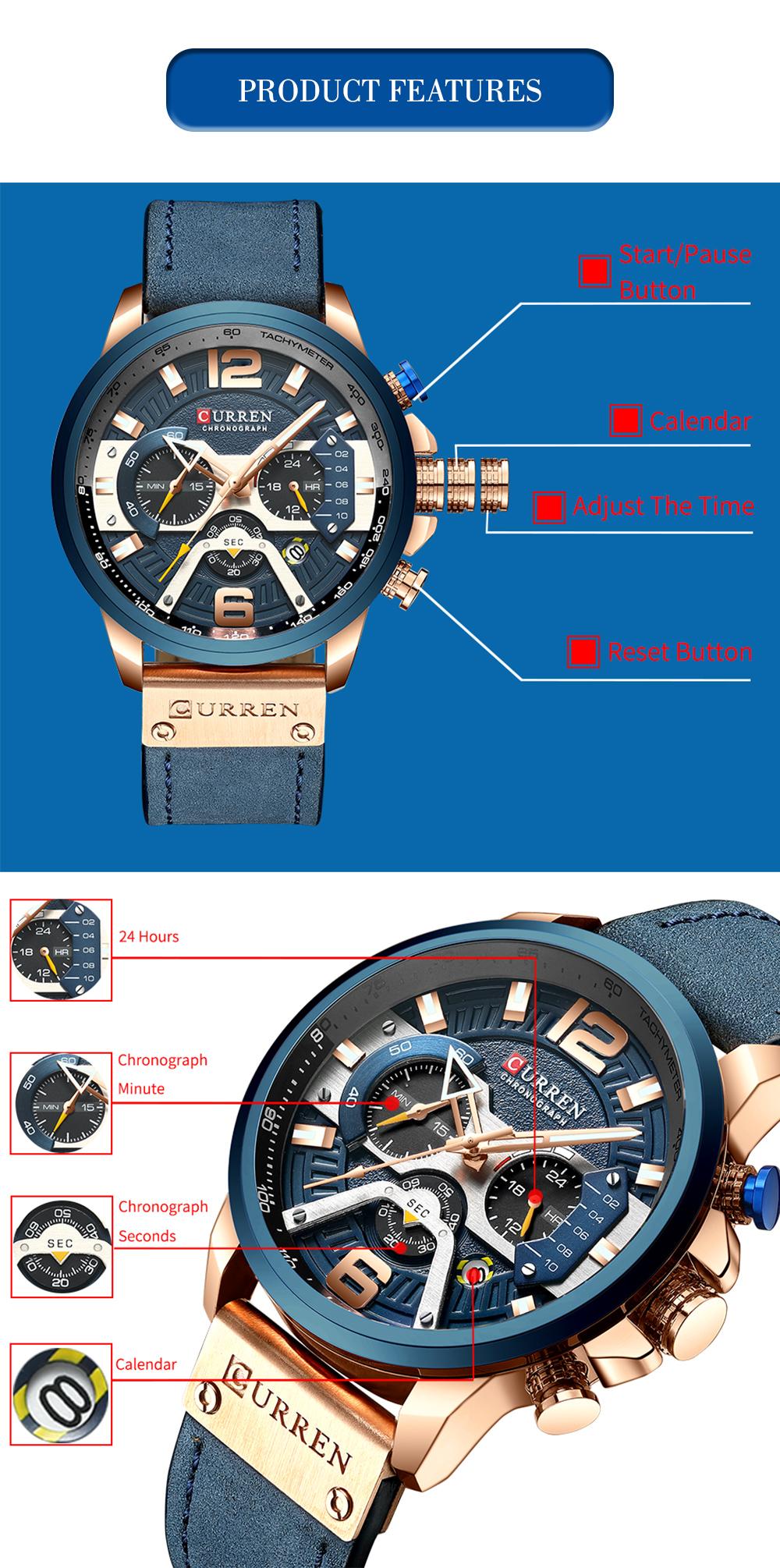 CURREN 8329 Watches Men Luxury Sport 6