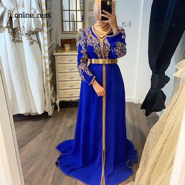 فستان سهرة بقفطان مغربي بأكمام طويلة وياقة عالية مطرز طويل عربي مسلم فستان رسمي رداء de soiree 1