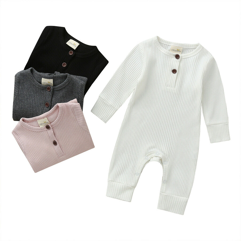 Newborn Infant Toddler Baby Boy Girls Long Sleeve Romper Knitting Jumpsuit Clothes Outfits Warm Plain Winter Cute Lovely 0-18M