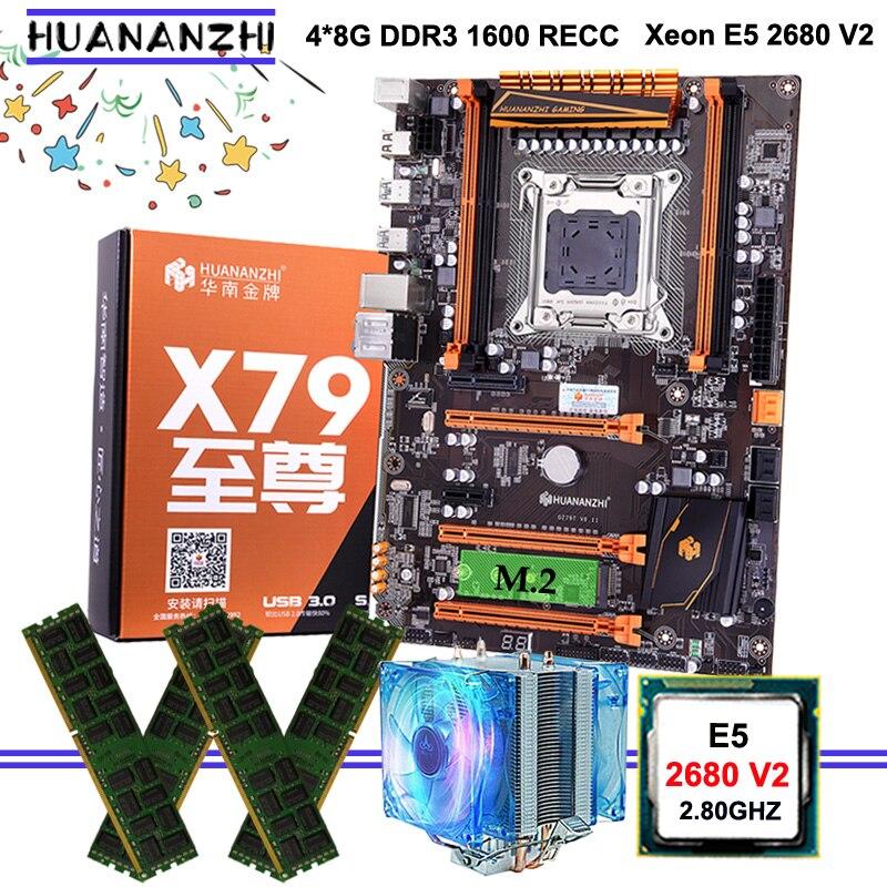 Bonne qualité HUANANZHI deluxe discount X79 carte mère avec M.2 slot CPU Xeon E5 2680 V2 avec refroidisseur RAM 32G (4*8G) 1600 RECC
