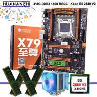 Buena calidad HUANANZHI deluxe descuento X79 placa base con ranura M.2 CPU Xeon E5 2680 V2 con refrigerador RAM 32G (4*8G) 1600 RECC