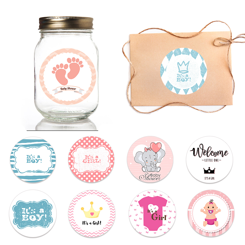 4.5cm Lovely Baby Party Stickers Gender Reveal Party Gift Labels Sticker DIY Crafts Kids Gift Birthday/Baby Shower Decorations