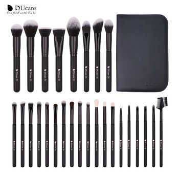DUcare 27PCS Make up Brushes Foundation Powder Eyeshadow Highlight Contour Eyebrow Brush Natural Hair Makeup Brush set with Case - DISCOUNT ITEM  44% OFF All Category