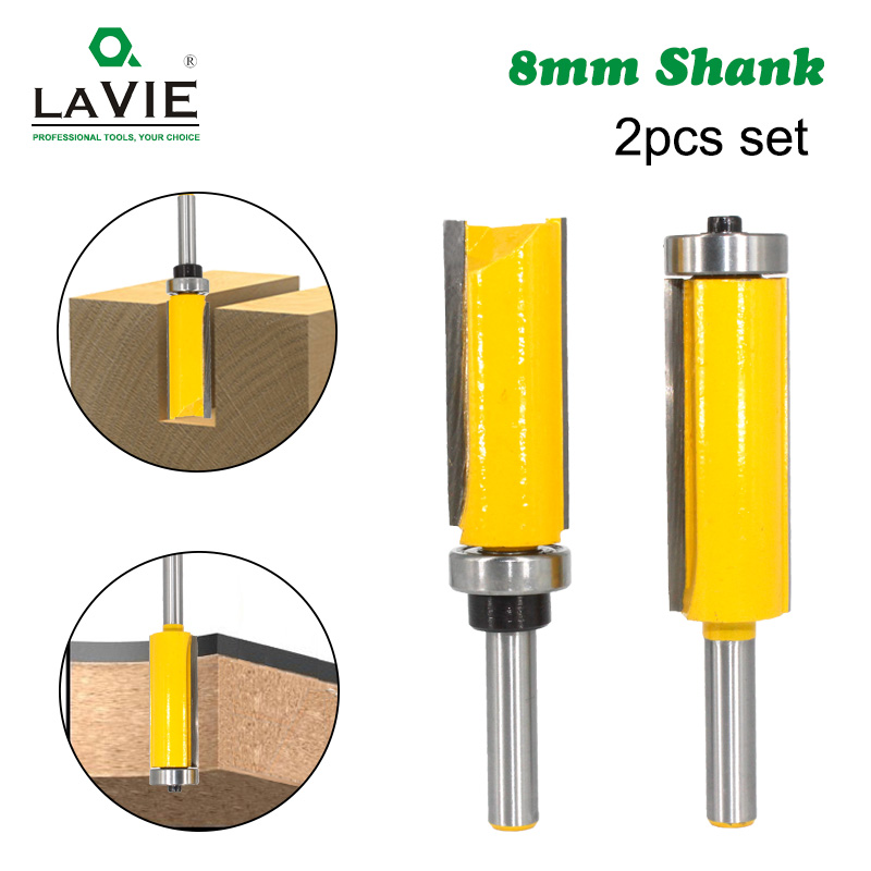 LAVIE 1pc 8mm Flush Trim Pattern Router Bit Top & Bottom Bearing Bits Milling Cutter For Wood Woodworking Cutters MC02214