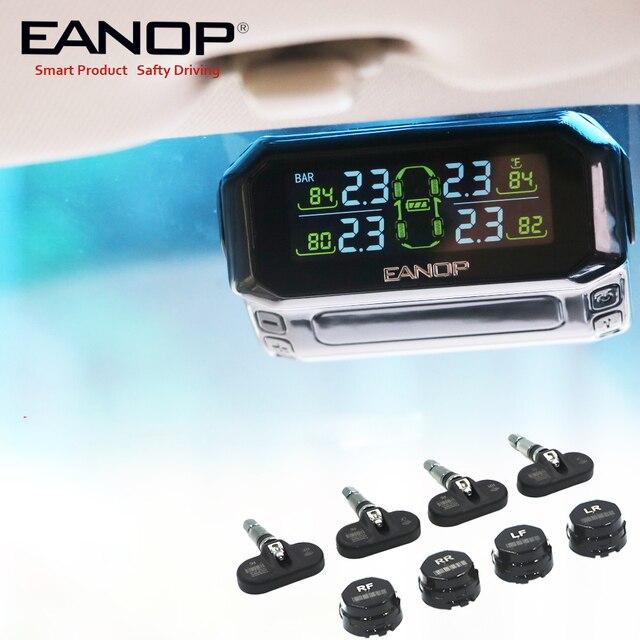 Eanop s600 solar tpms digital lcd sistema de monitoramento pressão dos pneus alarme pressão dos pneus sem fio 4pcs sensores psi/barra