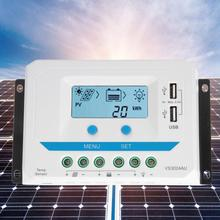 solar charger controller 10A/20A/30A Solar Charge Controller 12V/24V Auto PWM Regulator LCD Display with Dual USB Port solar epever 45a solar controller 12v 24v 36v 48v auto vs4548au pwm charge controller with built in lcd display and double usb 5v port