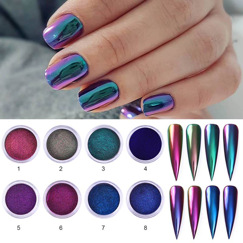 Glittering Chameleon Nail Powder Mirror Auroras Effect Nail Art 1 Box 8 Colors Chrome Pigment DIY Design Decoration