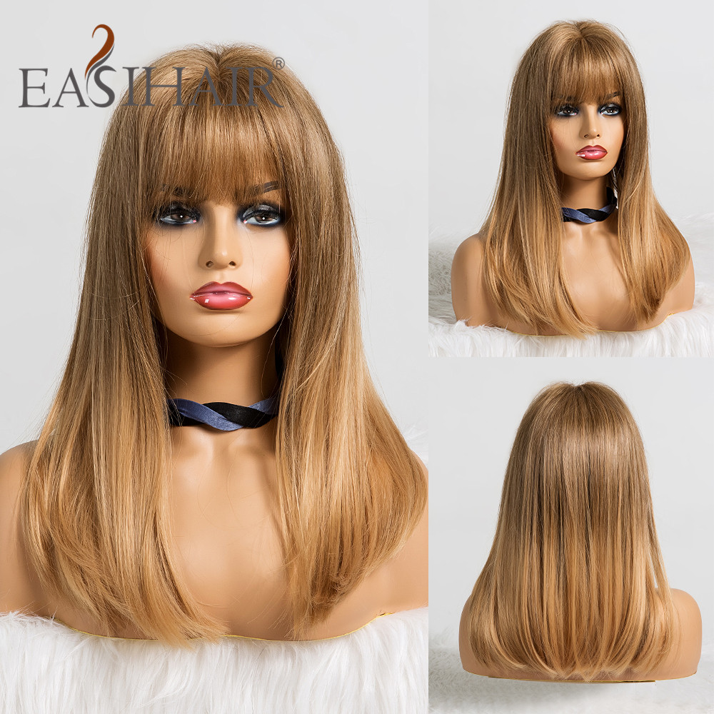 EASIHAIR Ombre Light Blonde Wigs With Bangs Medium Straight Synthetic Wigs For Women African American Heat Resistant Cosplay Wig