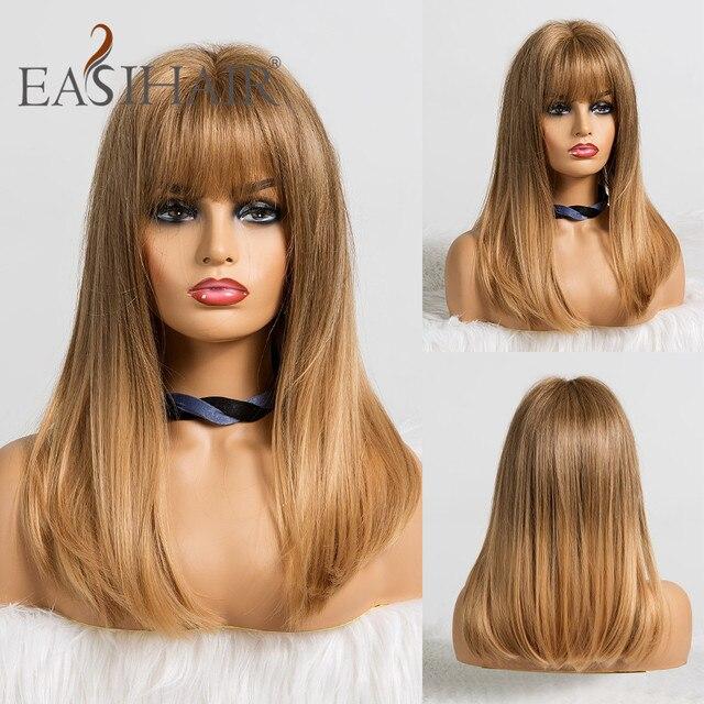 Easihairオンブル金髪のかつらの前髪ストレート合成かつら女性のためのアフリカ系アメリカ人耐熱コスプレウィッグ