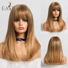 Perruques blondes ombrées avec frange perruques synthétiques droites moyennes pour femmes perruque Cosplay résistant à la chaleur afro américaine