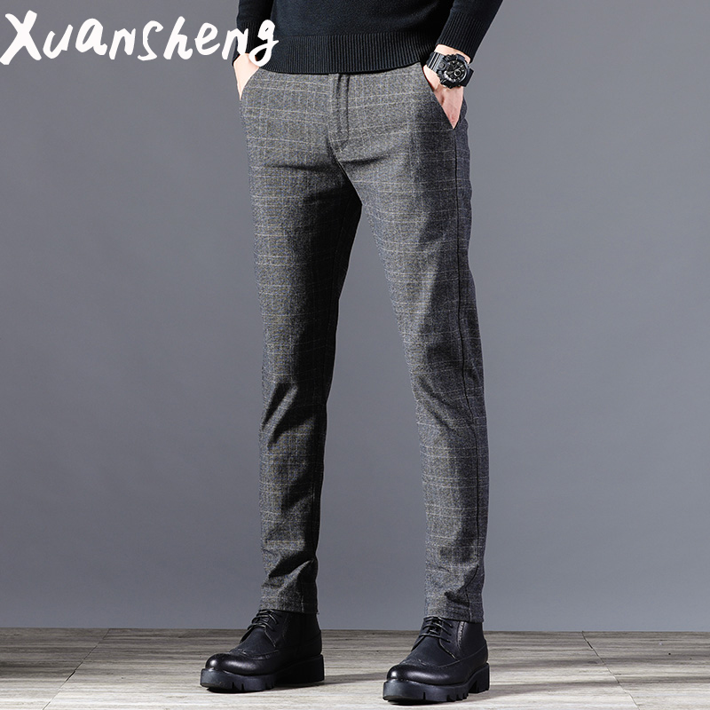 Grey Black Stretch Casual Pants 2020 New Classic Brand Young Students Striped Lattice Slim Long Streetwear Fashion Casual Pants