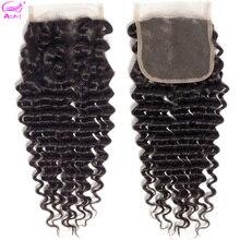 Ариэль Закрытие глубокая волна человеческих волос 20 дюймов прозрачного кружева закрытие бразильский синтетическое закрытие 4x4 закрытие средняя часть
