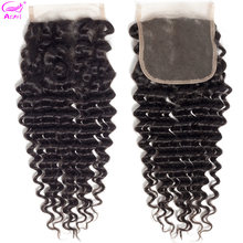 Ariel Deep Wave Closure Human Hair Closure 20 Inch Transparent Lace Closure Brazilian Closure Non Remy 4x4 Closure Middle Part(China)