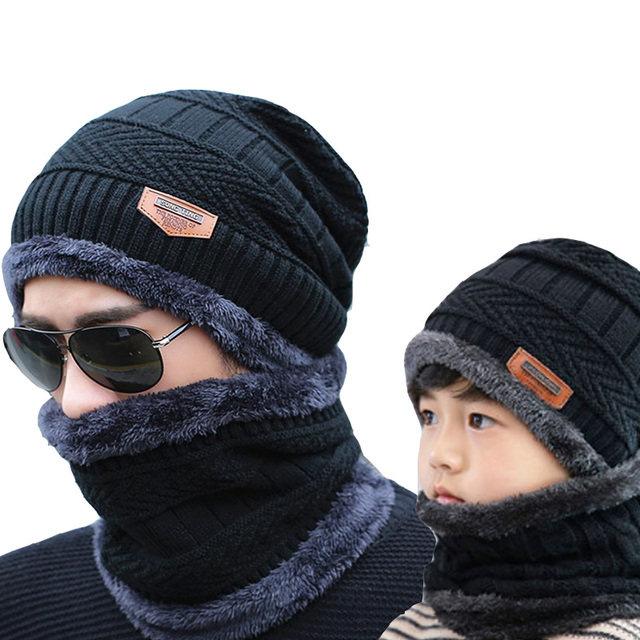 New Year Winter Hats Caps For Men Family Matching Parents Children Beanie Scarf Set Warm Knitted Hat Winter Cap gorras hombre 1