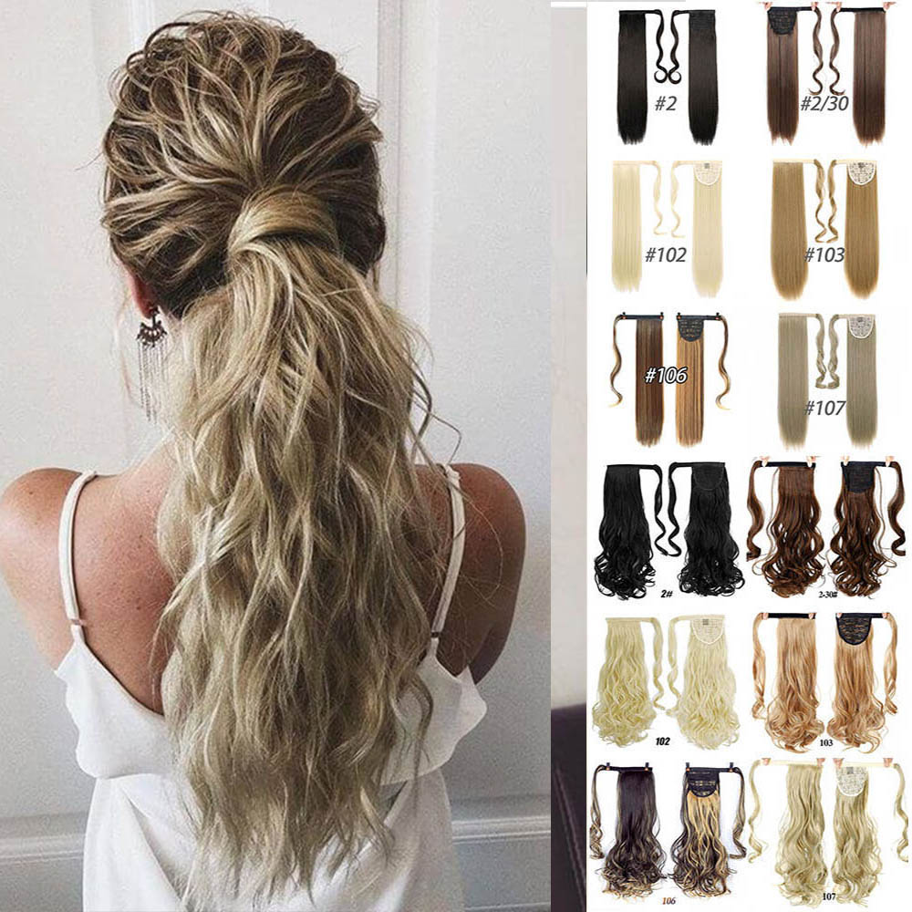 MANWEI 60cm Long Curly Clip In Hair Tail False Hair Ponytail Hairpiece With Hairpins Synthetic Hair Pony Tail Hair Extension