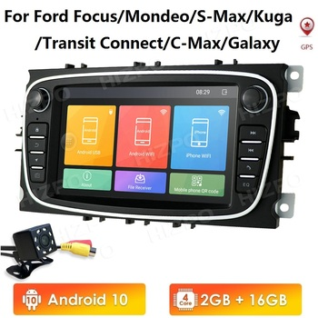 2G+16G 7HD Android10 Car GPS Radio Player for FORD TRANSIT FOCUS C-MAX S-MAX FIESTA GALAXY FUSION WiFi 4G DAB USB DVR OBD B/S image