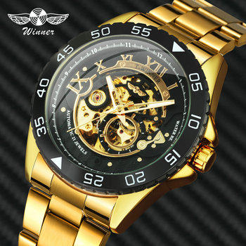 WINNER Official Luxury Brand Men Automatic Watches Skeleton Dial Gold Stainless Steel Watch Strap Fashion Mechanical Wristwatch angela bos luxury dragon skeleton automatic mechanical watches for men wrist watch stainless steel strap gold clock waterproof
