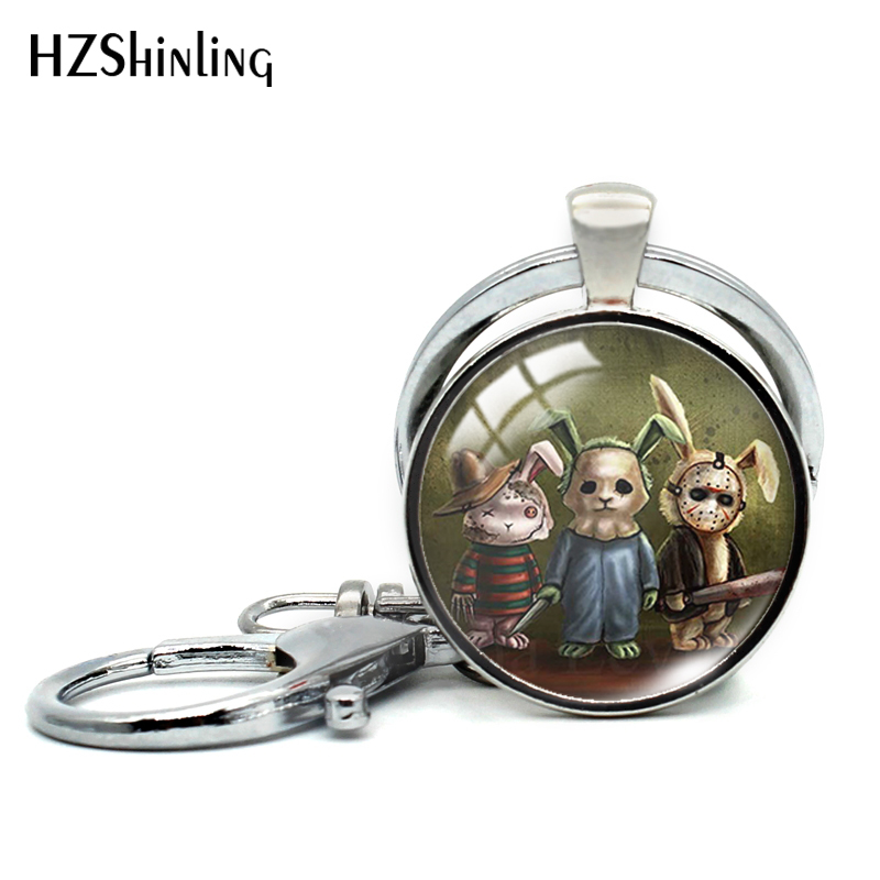 2019 New Silver Color Round Key Chain Horror Bunnies Keyring Heartless Bunny Scary Horror Rabbit Jewelry Fashion Keychain