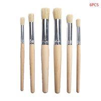 6pcs/set Watercolor Painting Stencil Brush Different Size Wooden Handle Kids Student Art Supplies