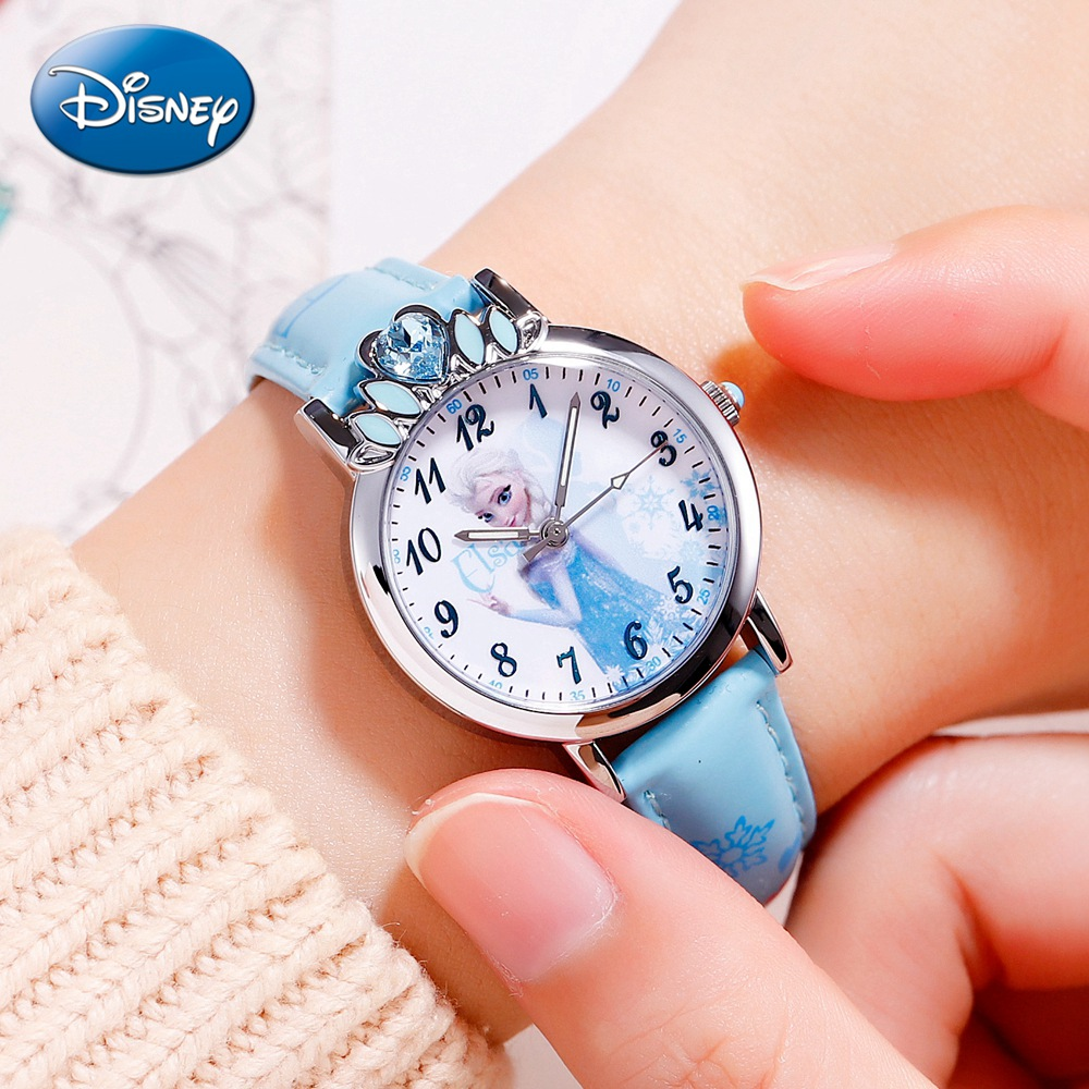 Disney Princess Series Frozen Elsa Girls Quartz Waterproof Fashion Trendy Watches Luxury Bling Crystal Crown Pretty Child Gift