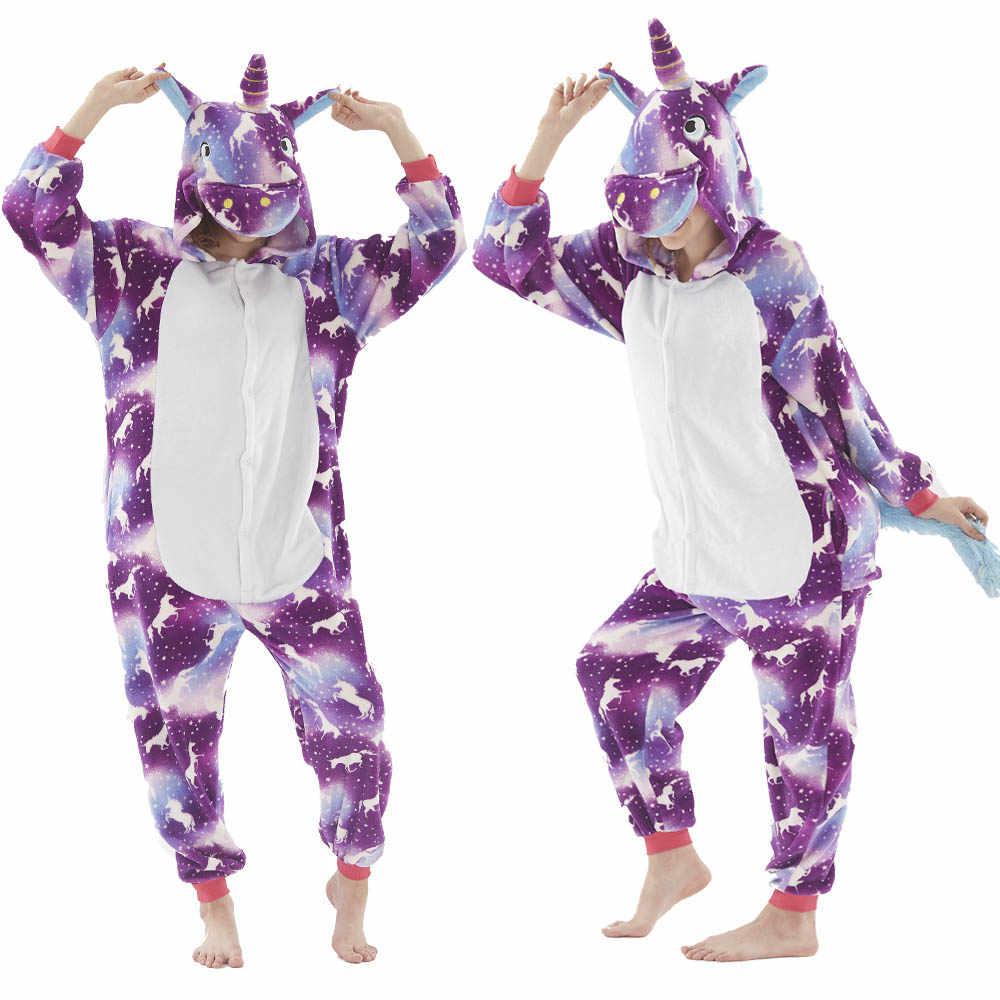 Niños de dibujos animados pijamas de invierno pijama kigurumi de Anime Onesies niños mono de franela caliente niño Unicornio Onesies