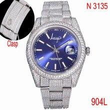 Модные высококачественные часы со сверкающим циферблатом с синим