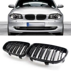 Image 1 - Grade de rim para bmw e81 3 door e87 5 door 1 série dupla slat gloss preto automóvel peças de decoração exterior