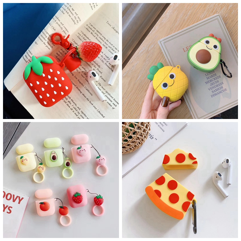 For AirPods Case 3D Cute Fruit Strawberry Pineapple Avocado Pizza Earphone Cases For Apple Airpods 2 Protect Cover with Pendant-in Earphone Accessories from Consumer Electronics