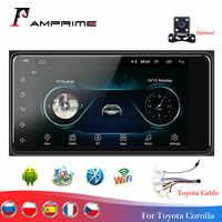 """Radio Estéreo AMPrime 2 Din para coche 7 """"Android reproductor multitiempo GPS Wifi Autoradio Bluetooth para Toyota Corolla cámara de visión trasera"""