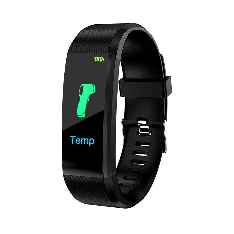 Смарт-браслет 115plus с измерением температуры тела, пульса, артериального давления, спортивный смарт-браслет с Bluetooth