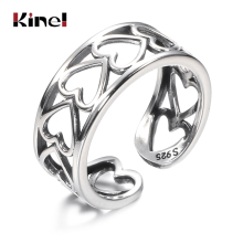 Kinel Genuine 925 Sterling Silver Stackable Ring Cutout Heart Woman Jewelry Wedding Party Silver Ring bijoux цена 2017