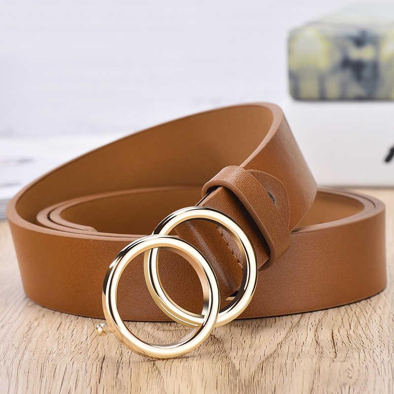 2020 Baru Desain Merek Terkenal Di Leatherhigh Kualitas Sabuk Fashion Alloy Ring Lingkaran Gesper Gadis Gaun Jeans Liar Sabuk