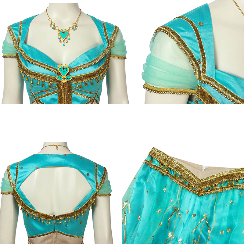 Image 4 - Aladdin Film Cosplay Costume Jasmine Adult Lamp Princess Fancy Dress Custom Made Halloween Costumes For Women Girls Carnival-in Movie & TV costumes from Novelty & Special Use