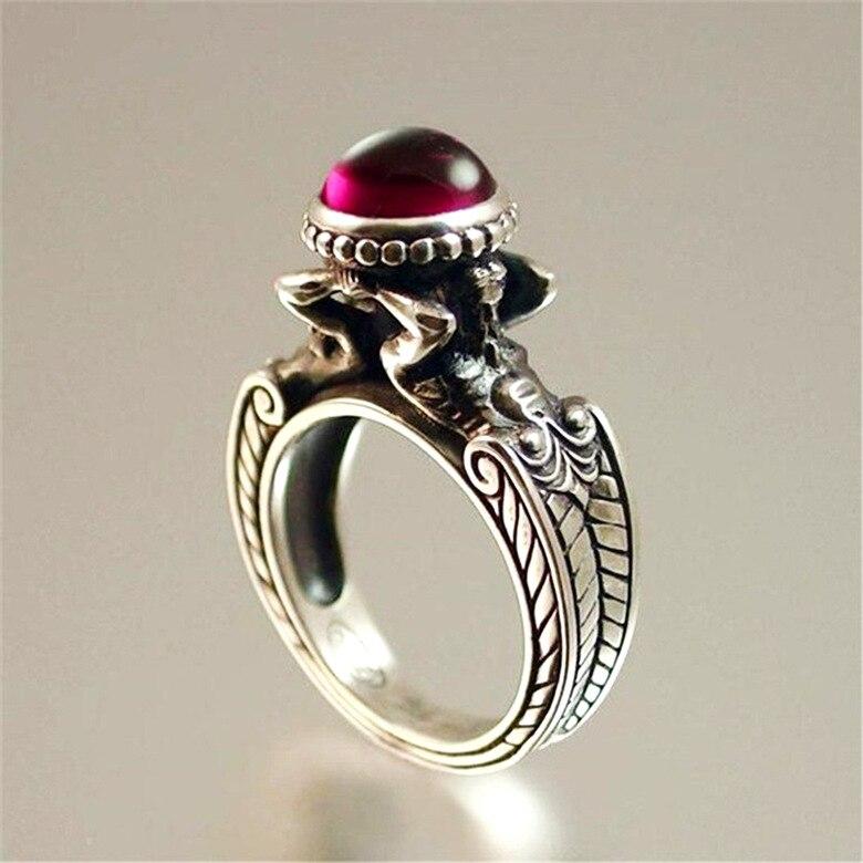Timbre 925 argent diamant rubis bague pour femmes et hommes topaze rouge rubis Cirle Anillos Bizuteria mariage pierre précieuse argent 925 bijoux - 3