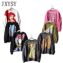 2019 Sweatshirt Women Hoodies Black Pink Cartoon Lion King Print Long Sleeve Female Casual Loose Womens Tops