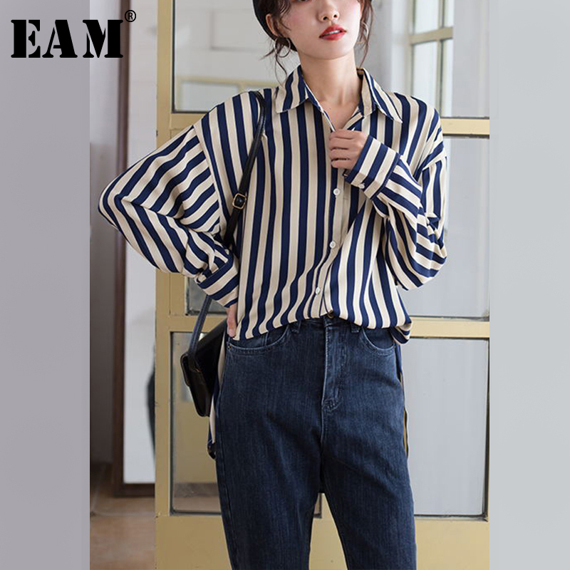 [EAM] Women Black Blue Striped Split Big Size Blouse New Lapel Long Sleeve Loose Fit Shirt Fashion Tide Spring Autumn 2020 1T102