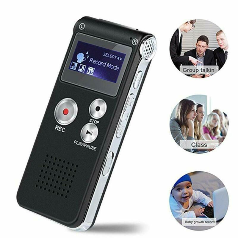 Business 8GB Rechargeable Steel Digital Sound Voice Recorder Dictaphone MP3 Player Record