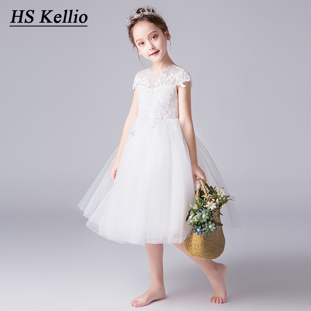 First Communion Dresses Off White Flower Girl Dress Tea Leangth Lace Appliques