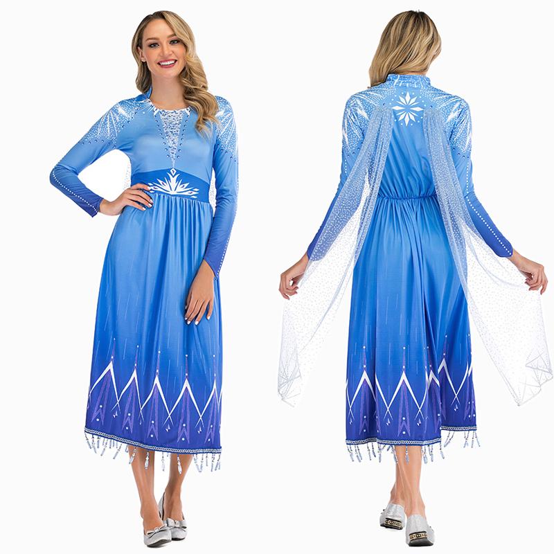 Elsa Snow Queen Princess Costume Cosplay For Women Fancy Dress Halloween Costumes Cosplay For Adult Carnival Party Dress Up