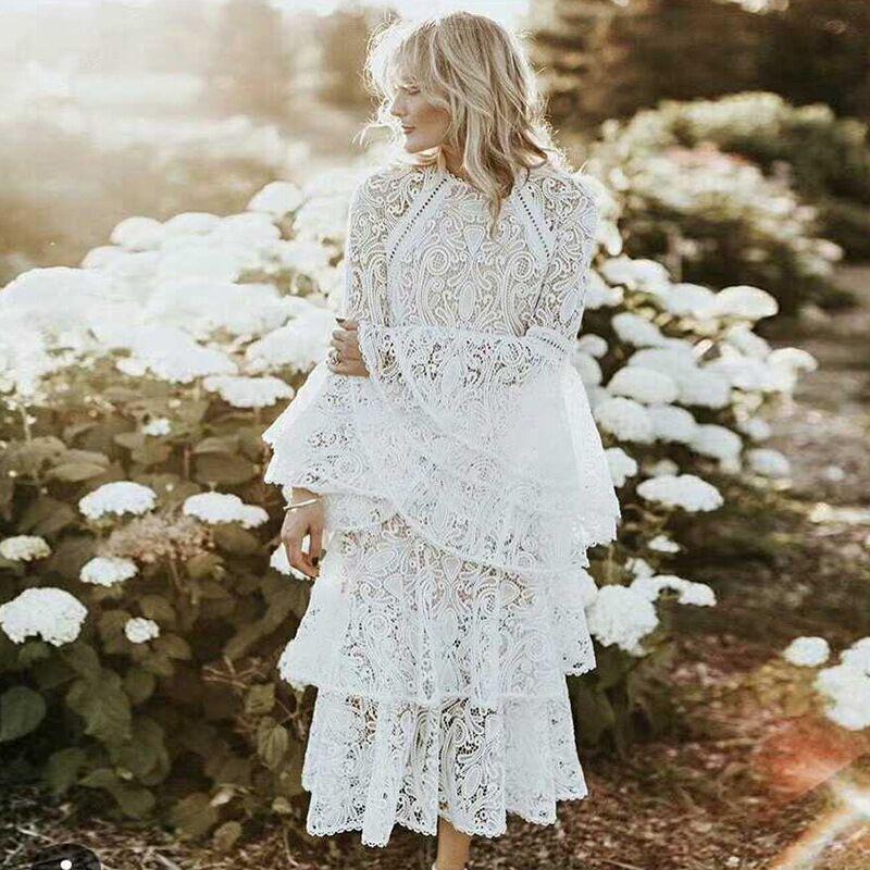 Flare Sleeve Sexy Lace Maxi Dress Women 2020 Spring White Ruffles O-Neck Empire Elegant Party Club Dresses Plus Size