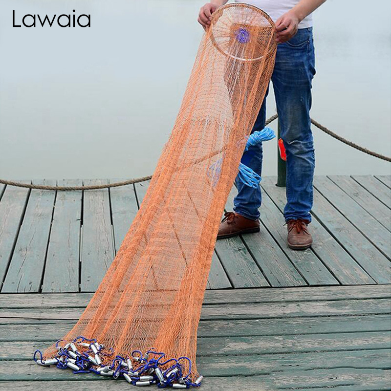 Lawaia Fishing Net Diameter 2.4M-7.2M High Quality Sports Hand Throwing Fishing Net  American Style Casting Network With Sinkers