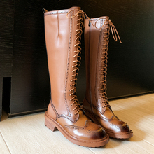 Women Boots Motorcycle Western 100%Cowhide-Boots Winter Genuine-Leather Fur Knee Natural