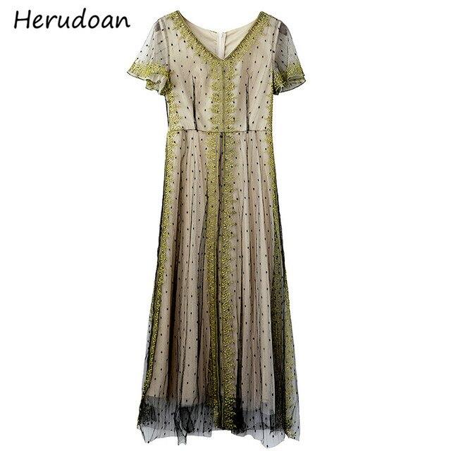 Herudoan été mode une ligne robe brodée femmes concepteur Vintage à manches courtes col en v point maille fête robes mi-longues Vestidos