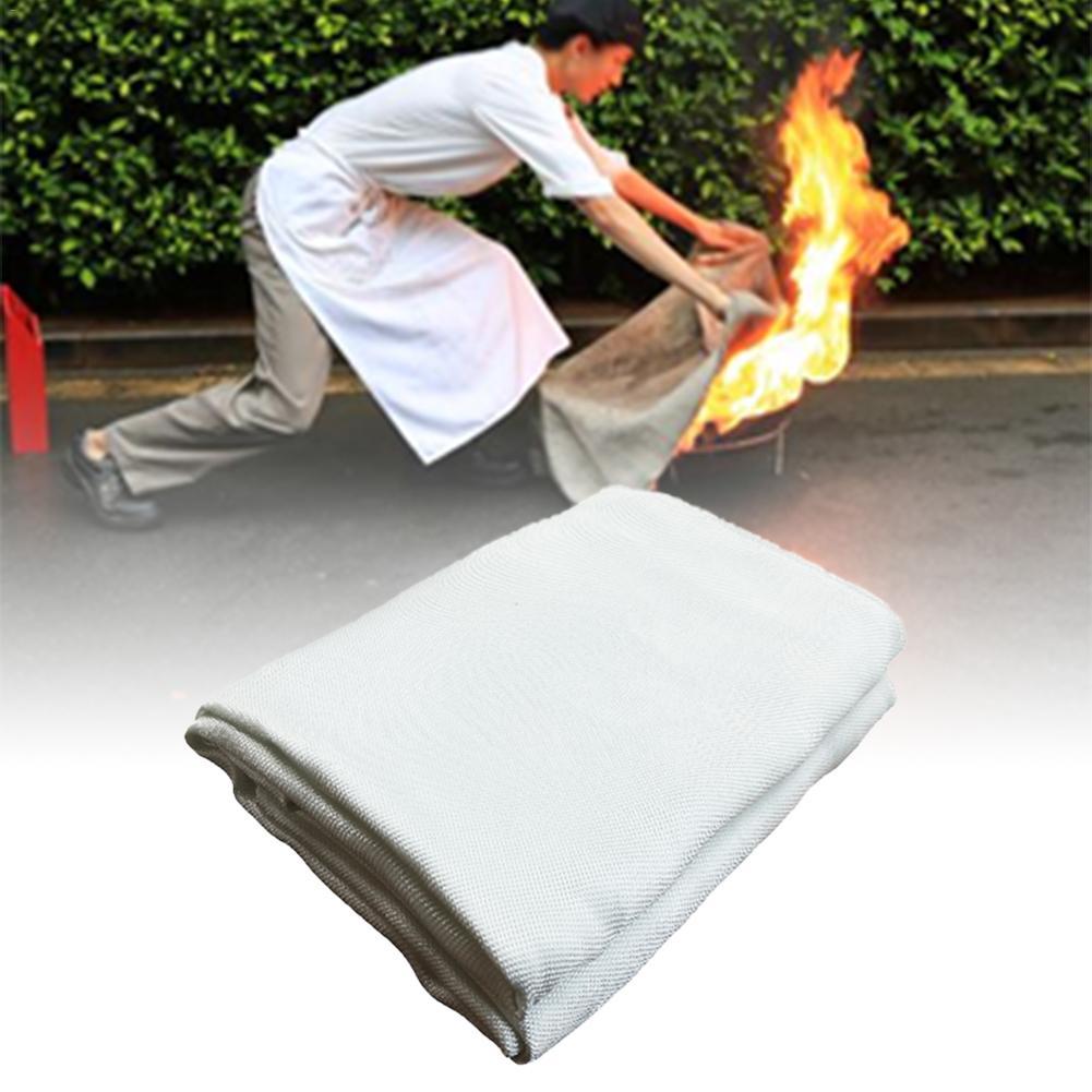 Fireproof Blanket Multi Function Fire Retardant Blanket Fireproof Blanket For Fireplace Cream Fiberglass 100cmX100cm Security