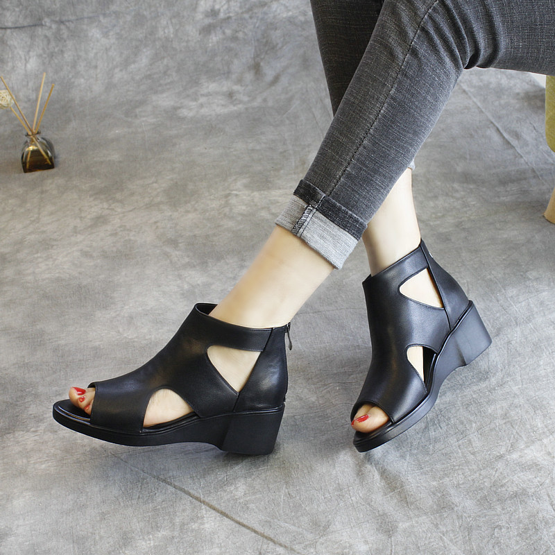 Women Leather Sandals High Heels Peep Toe Black Summer Shoes For Women Casual  Sandals Handmade Genuine Leather Women Shoes