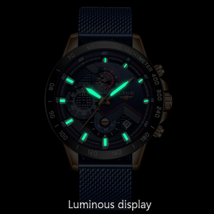 Image 3 - ליגע אופנה Mens שעונים למעלה מותג יוקרה שעוני יד קוורץ שעון כחול שעון גברים עמיד למים ספורט הכרונוגרף Relogio Masculino
