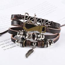 Многослойный кожаный браслет my boho с тибетским камнем и перьями